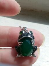 """GREEN ONYX FROG PENDANT & 18"""" CHAIN 925 STERLING SILVER  NATURAL BLACK SPINEL"""