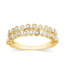 1/6Ct Diamond Stackable Band 14k Yellow Gold 2 Row Wedding Anniversary Ring