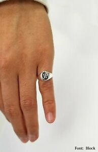 Sterling Silver Pinky / Baby Signet Monogram Ring, 925 Silver Dainty Oval Ring
