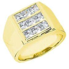 2.51 ct 9 PRINCESS cut DIAMOND Ring MENS Heavy 14k Yellow Gold Band SI1 clarity