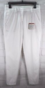 New Puma Women's Golf Pounce Pant Bright White Dry Cell 100% Cotton Tapered Sz 0