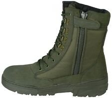 Green Army Patrol Side Zip Combat Boots Tactical Military Hiking Suede 954