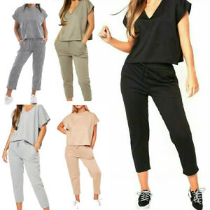 Womens Ladies Boxy Lounge Wear Short Sleeve Tracksuit Set Casual Comfy Two Piece