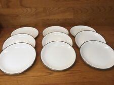 "9 Vtg. Noritake 5594 SILVERDALE 8"" Salad Plates White w/Platinum Trim"