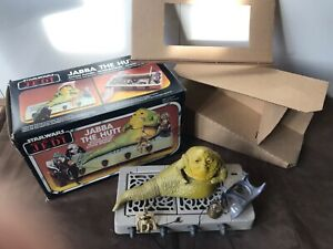 Vintage ROTJ Jabba The Hutt Playset Boxed Contents In Unused Condition Box Tatty