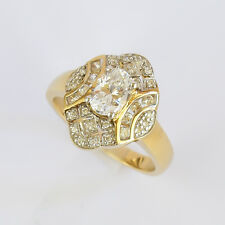 CUBIC ZIRCONIA RING GENUINE 9K 375 9CT GOLD DRESS COCKTAIL RING SIZE N NEW