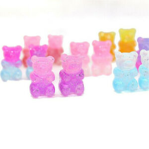10Pcs Resin Two-tone Gradient Bear Charms Pendant DIY Making Necklace Earrings