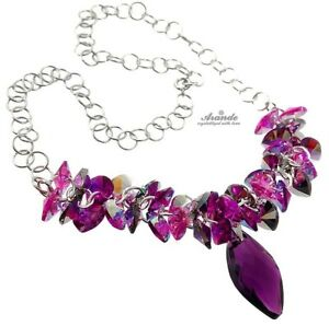 ORIGINAL CRYSTALS FABULOUS NECKLACE *AMETHYST NAWI * STERLING SILVER 925