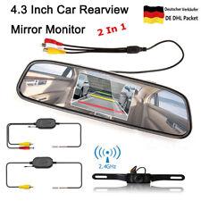 "Funk 4,3"" Rückspiegel Monitor Auto Rückfahrkamera Farb Wasserdicht Einparkhilfe"