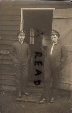 WW1 ? soldier group Grenadier Guards outside Office or barrack hut in overalls