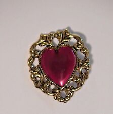 """New listing Large Fancy Red & Gold Heart Metal Shank Button 1-1/8"""" x 1-1/4"""" Red & Gold Heart"""