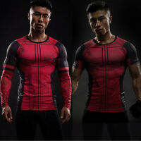 Deadpool Men Compression Marvel Superhero Tee T-Shirts Gym Sport Jersey Fit Tops