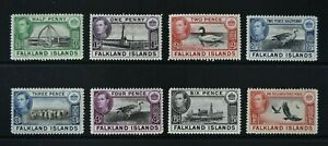 FALKLANDS, KGVI, 1938 / 50, eight stamps from set to 1s.3d. value, MM, Cat £38.