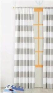 Pillowfort Twill Light Blocking Lined Curtain Panels White/Gray Stripe 84L PAIR