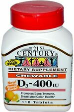 21st Century Chewable D3 400 IU, Orange Flavor 110 ea (Pack of 6)