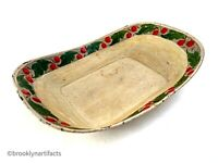 Antique Americana Folk Art Tole White Painted Tin Bread Tray with Cherries