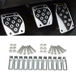 3PCS Aluminum Non-Slip Car Foot Pedals Pad Cover For Brake Clutch Accelerator
