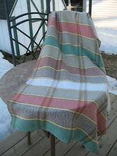 """vintage HAND MADE blanket or rug woven cotton material 60""""x32""""in.USED"""