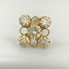 14Kt Real Yellow Gold Stud Nose Ear Pin Piercing Ring Clear 20 Gauge Zircon 20g