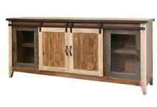 Greenview Rustic Modern Farmhouse Solid Wood Mutlicolor TV STAND - 80 INCH