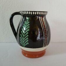 """Vintage Slovak Pottery Vase Signed Artist Jan Parikrupa Black Leaf Jug 6.5"""""""
