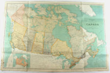 LARGE Antique 1930 Wall Map Of Canada Railroad Department Of The Interior