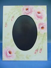 """Photo Frame Decorated With Painted Pink Flowers For 4 1/2"""" x 6 1/2"""" Oval Photo"""