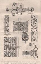 Details of carved oak cabinet, German 16th Centy. Work. Trees 1868 old print