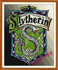 Harry Potter  Slytherin crest badge CROSS STITCH CHART 12.0 x 9.8 Inches