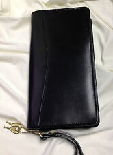 Leatherways Black Leather Travel Wallet 4.5 x 9 inches Locking Zipper number 209