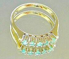 Nice ✰ Smaragd in aus ✰ 14kt 585 Gelb Gold Ring mit ✰ Smaragden Smaragde emerald