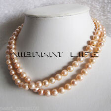 """34"""" 7-9mm Natural Color Peach Pink Freshwater Pearl Necklace Fashion Jewelry"""