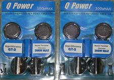 2 Pairs Of  Q Power QT-2 High Efficiency Dome Chrome Tweeter Crossover Built-in
