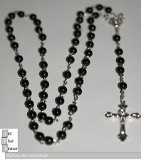 CHAPELET NOIR Boules 6mm  FASHION CRISTIANO ROSARY NEUF