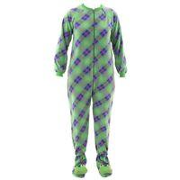 Katnap Green Plaid Fleece Frog Footed Pajamas for Women Fleece One-Piece Footie