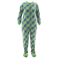 Katnap Green Plaid Frog Footed Pajamas for Women Fleece One-Piece Footie d25b4862f