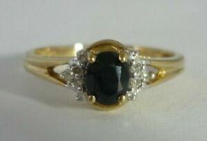 Stunning Sapphire & Diamond 9k Gold Ring By LA Size L 1/2