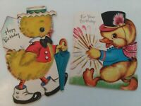 2 Vtg 1940-50s ANTHROPOMORPHIC CHICK w Baton & Umbrella BIRTHDAY GREETING CARDS