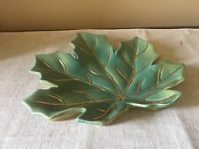 Ceramic Candy Dish - Maple Leaf - Green And Gold
