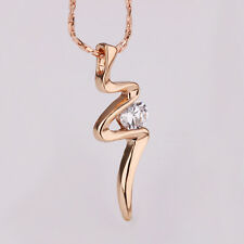 Elegant 18k Yellow Gold Filled GF  CZ Pendant Necklace Woman N447