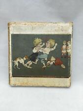 "Antique Hanky Box Boys Fighting, Little Girls Watching & Dog Silk Hanky w ""P"""