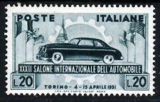 ITALIA 1951 TORINO 33A. automobile esposizione 20 LIRE BLU-VERDE SG 781 MINT