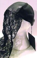 NIGHT WALKER SHOTGUN WEDDING BRIDE CAP HAT VEIL Black Faux Leather Lace Redneck