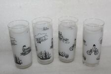 FOUR RETRO 1960's SLIM JIM TALL GLASSES FROSTED WITH BLACK TRANSPORT SCENES