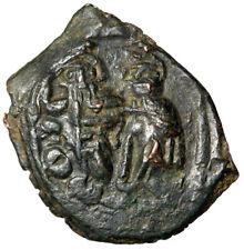 "Overstruck Constans Ii Follis ""Emperor & Constantine Iv, Exergue on Obverse"" Ef"