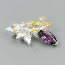 Unique Natural Amethyst 925 Sterling Silver Brooch /NB06362
