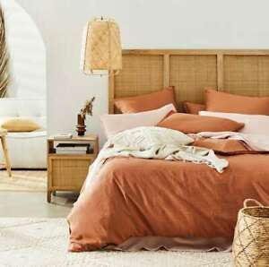 Super king Vintage washed linen quilt cover and 2 Pc ( brick)