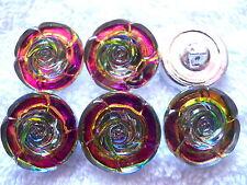 "CZECH GLASS BUTTONS (6 pcs) 7/8""- (22mm)REALISTIC ROSES    US - MP 003"