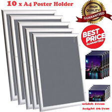 10 x A4 Silver Snap Frame Picture Poster Holder Clip Display Retail Notice Board