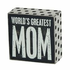 """Greatest Mom Wooden Box Sign, 4"""" x 4"""" x 1.75"""""""